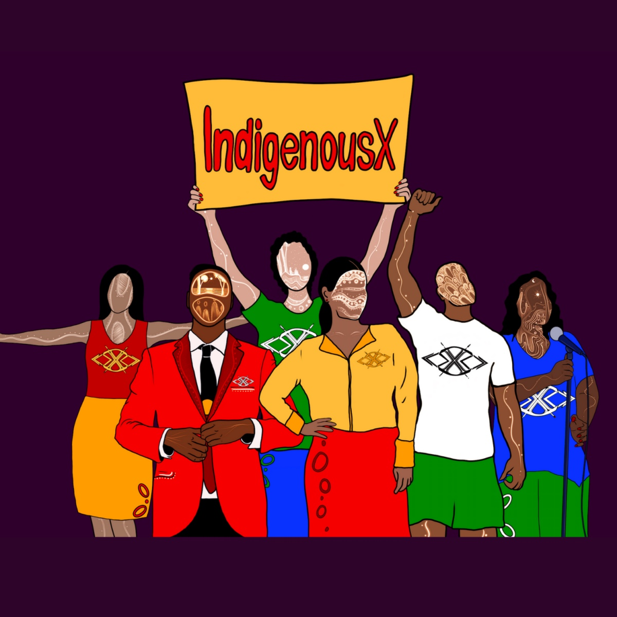 IndigenousX cartoon people holding sign